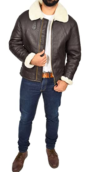 Amazon.com: Mens Real Brown Sheepskin Flying Leather Jacket White Shearling Bomber Coat Lancer: Clothing