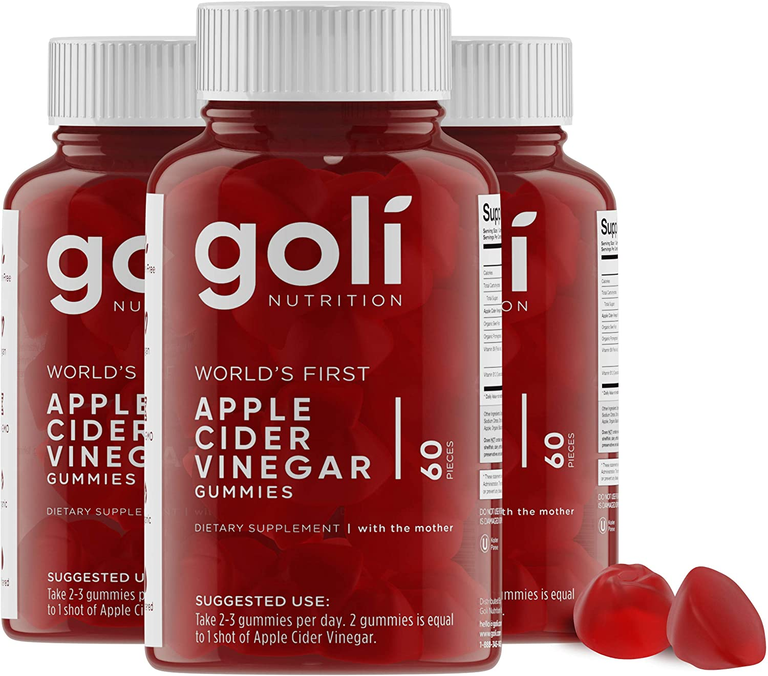 Amazon Com World S First Apple Cider Vinegar Gummy Vitamins By Goli Nutrition Immunity Detox Weight 3 Pack 180 Count With The Mother Gluten Free Vegan Vitamin B9 B12 Beetroot Pomegranate Health