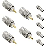 PL 259 Connectors, 5-Pack PL-259 UHF Male Solder Connector Plug with Reducer, Teflon Material RFAdapter 50ohm for RG59, RG8,