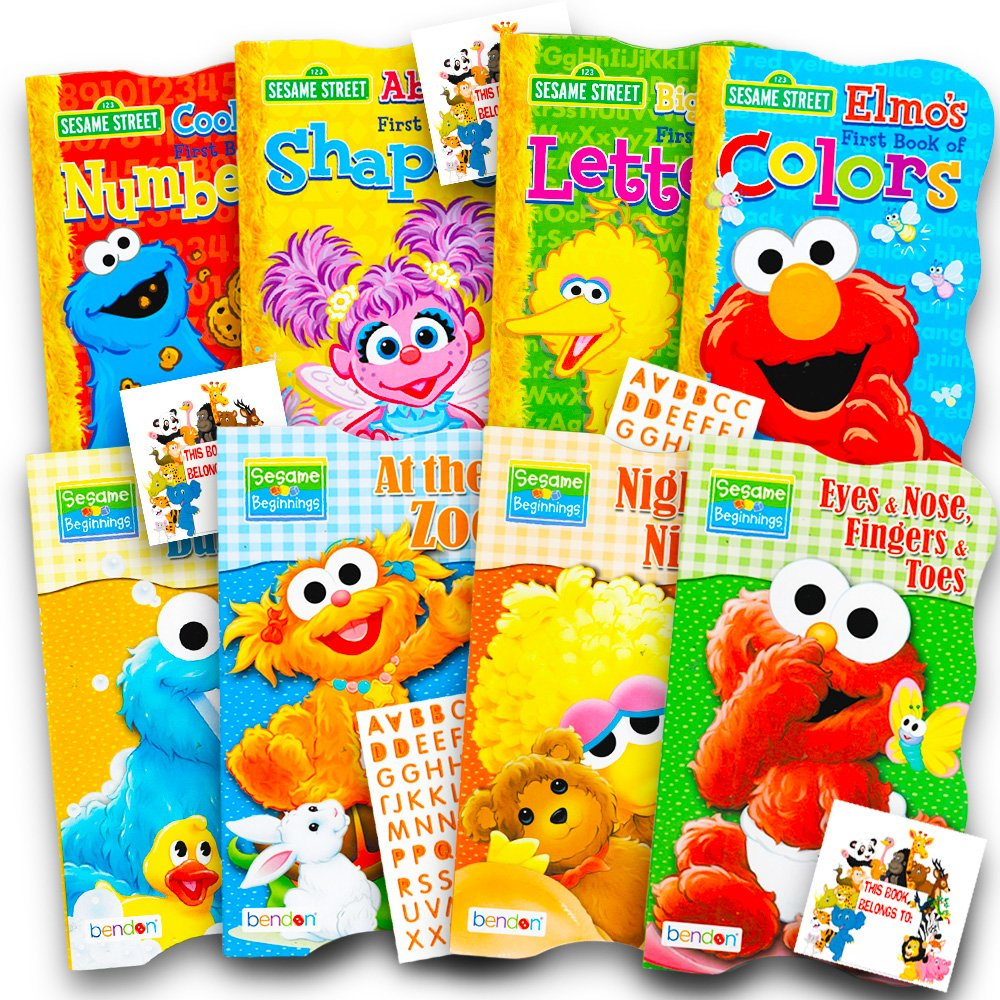 Sesame Street Ultimate Board Books Set For Kids Toddlers -- Pack of 8 Board Books with Alphabet Stickers (ABC Set)
