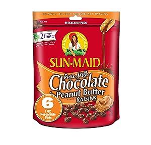 Sun-Maid Chocolate Covered Raisins Snacks, Pure Milk Chocolate 'n Peanut Butter Raisins, 7 oz Resealable Bags (Pack of 6)