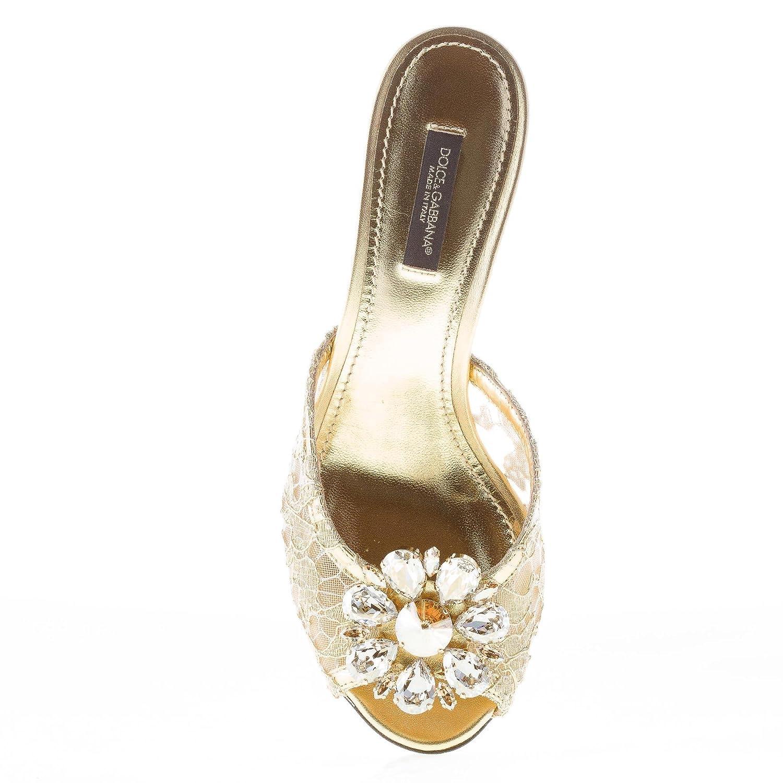 Dolce   Gabbana Donna Ciabatta in Pizzo Taormina Oro con Gioiello. Tacco 6  cm Color Oro Size 37  Amazon.it  Scarpe e borse cab4e3463ab
