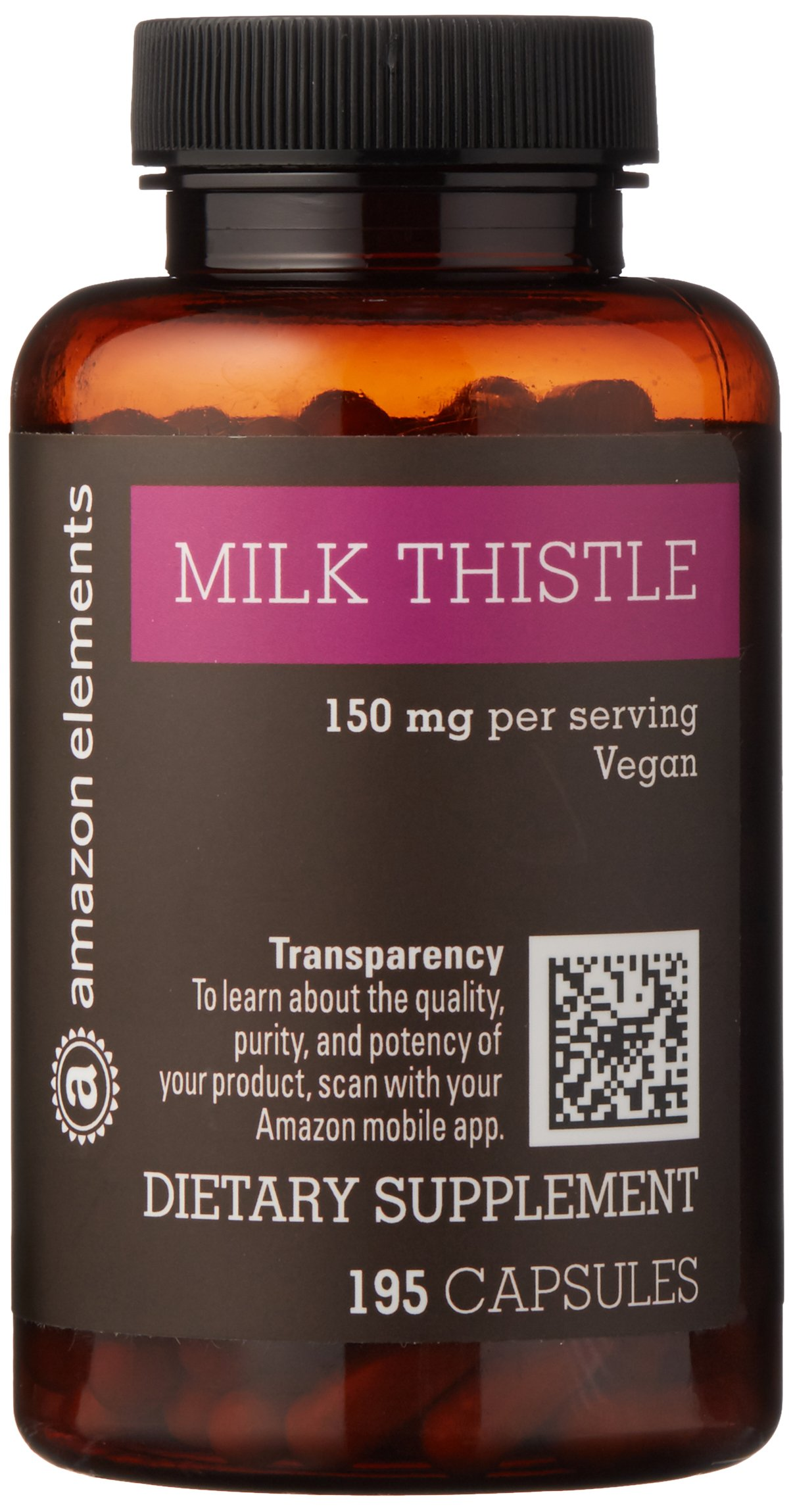 Amazon Elements Milk Thistle, Vegan, 150mg, 195 Capsules, more than a 6 month supply