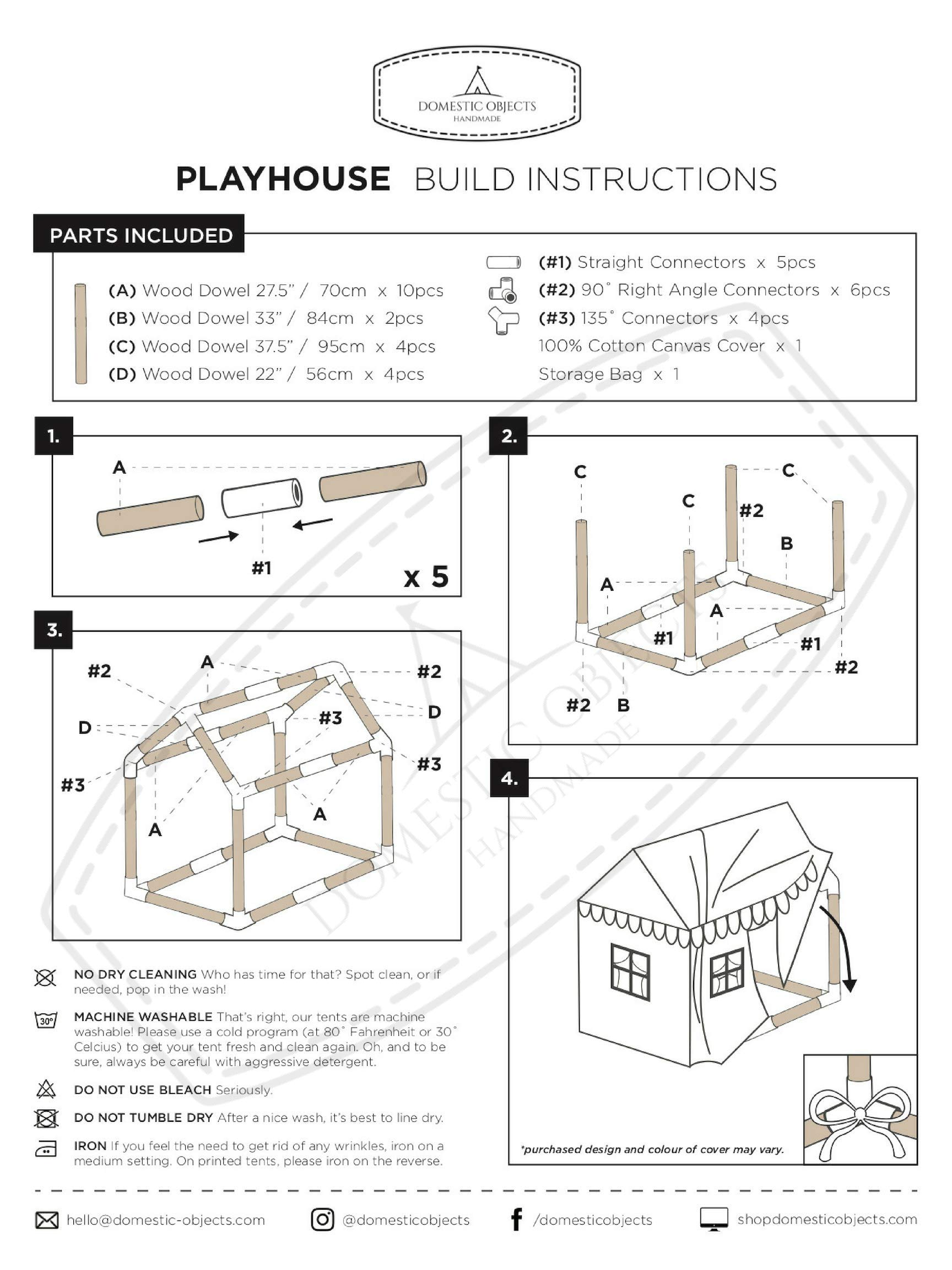 Domestic Objects Children's Playhouse. Handmade with 100% Cotton Premium Quality. Pink by Domestic Objects (Image #8)