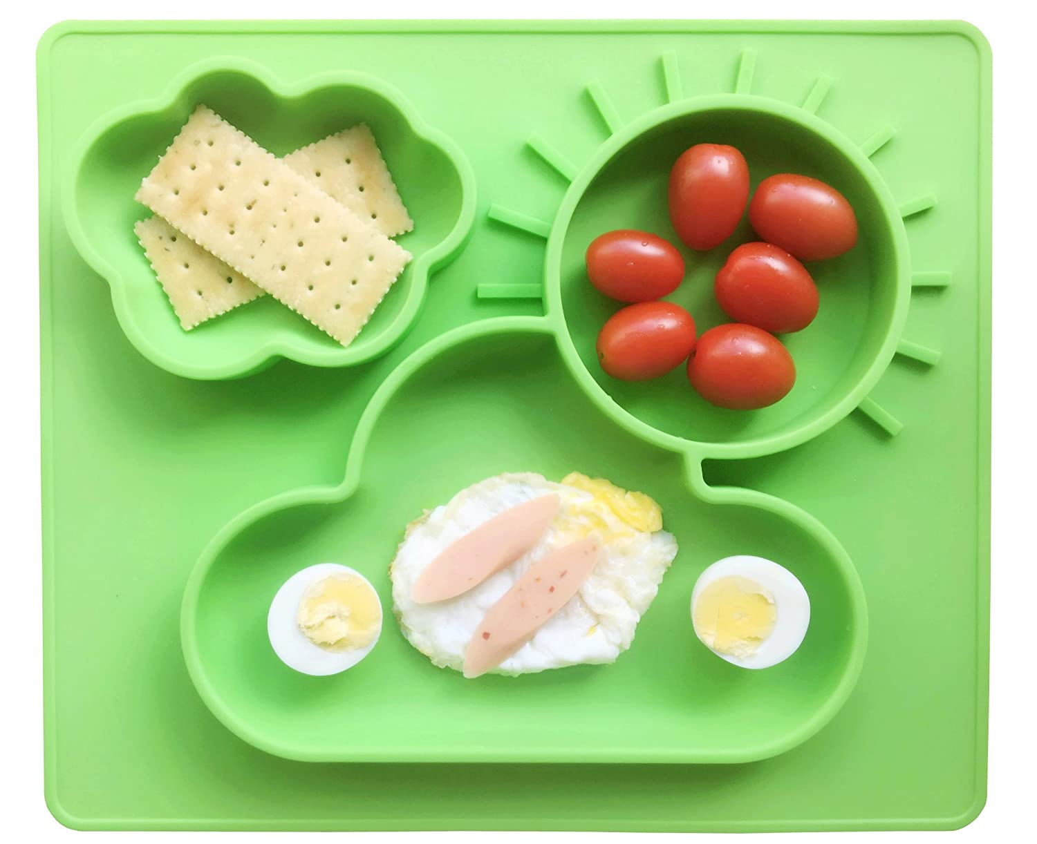 Ledsolver Silicone Baby Placemat and Spoon, 100% Suction Baby Plate, Food Grade Silicone Placemat for Toddlers (Green)