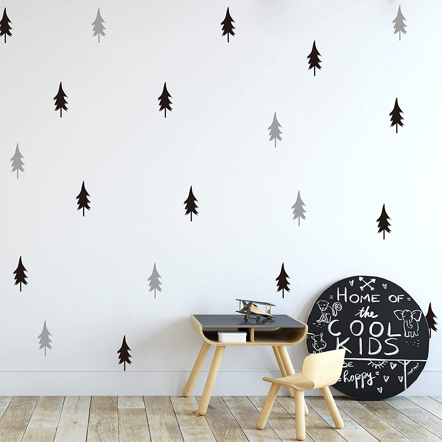 Melissalove 40pcs/Set Large Tree Wall Stickers for Kids Room,Nordic Pine Tree Wall Decals Baby Nursery DIY Stickers JW581 (Black+Light Grey)