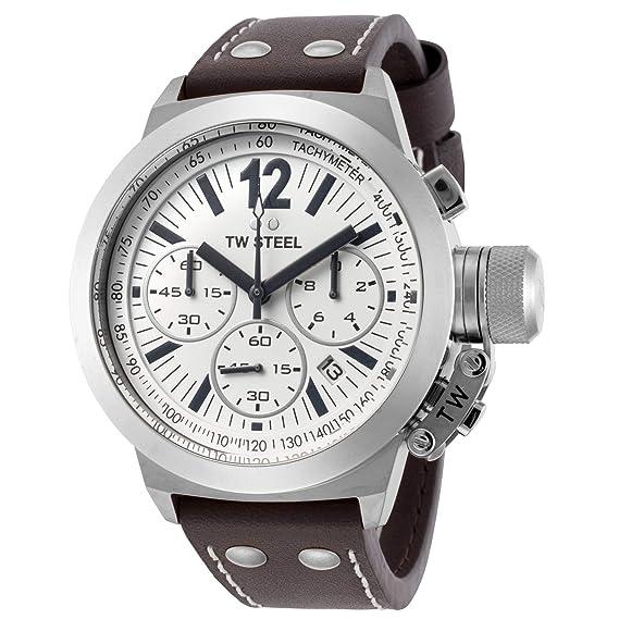TW Steel CE 1007 - Reloj cronógrafo de caballero con correa de piel marrón: Amazon.es: Relojes