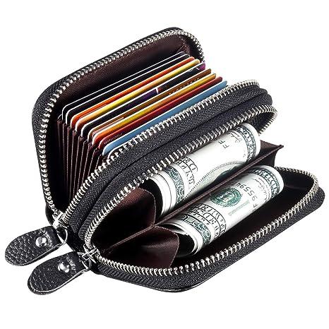 Foonii RFID Cartera Tarjeteros Piel Genuino Monedero,Mini Doble Cremallera 2 en 1 Pequeñas Portatarjetas para Mujer Hombre (Negro)
