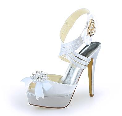 JIA JIA Damen Brautschuhe 20121 Peep Toe Stiletto-Absatz Satin Platform Sandalen Bowknot Hochzeitsschuhe