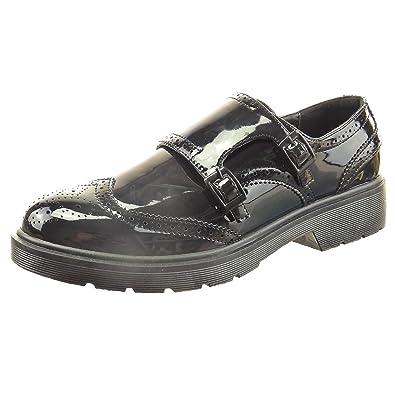 Damen Mode Schuhe Derby-Schuh Fertig Steppnähte Patent Schleife - Schwarz CAT-3-SN006 T 40 Sopily VXVfFJv