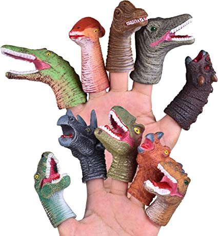 2//10Pcs Cartoon Rubber Dinosaur Finger Ring Soft Birthday Party Favors Kids Gift