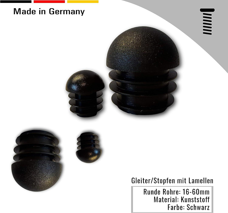 4 Gleiter//Stopfen mit Lamellen 32mm Kunststoff Rundkopf schwarz f/ür runde Rohre