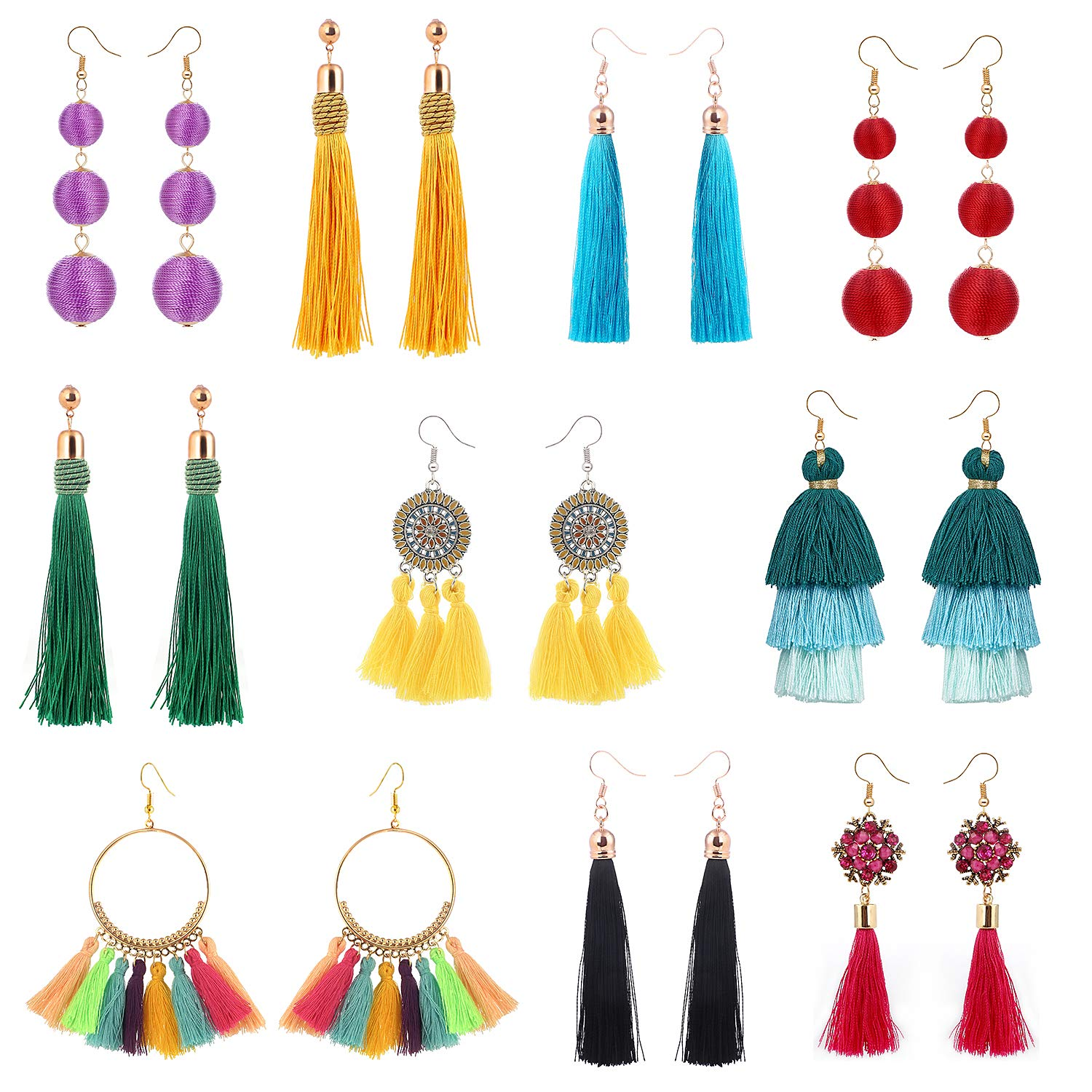 10 Pairs Colorful Long Layered Thread Ball Dangle Earrings Yellow Red Turquoise Tassel Hoop Fringe Bohemian Tiered Tassel Drop Earrings Soriee Stud Earrings Gift Set for Girls Women luoyue