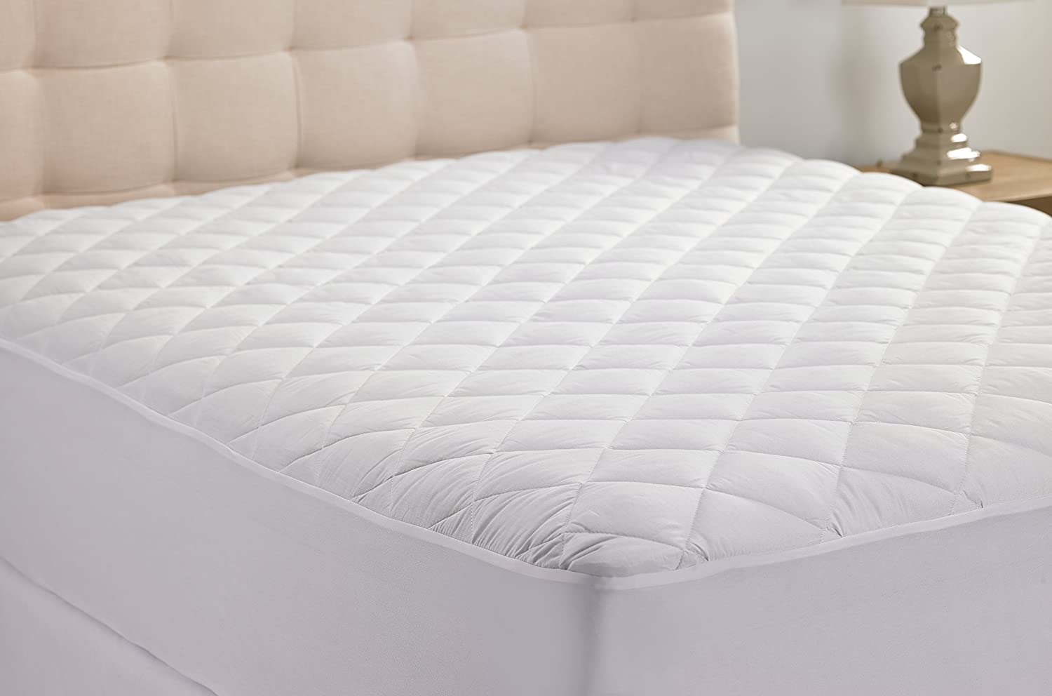 hypoallergenic quilted stretch to fit mattress pad by hanna kay 10 year ebay. Black Bedroom Furniture Sets. Home Design Ideas