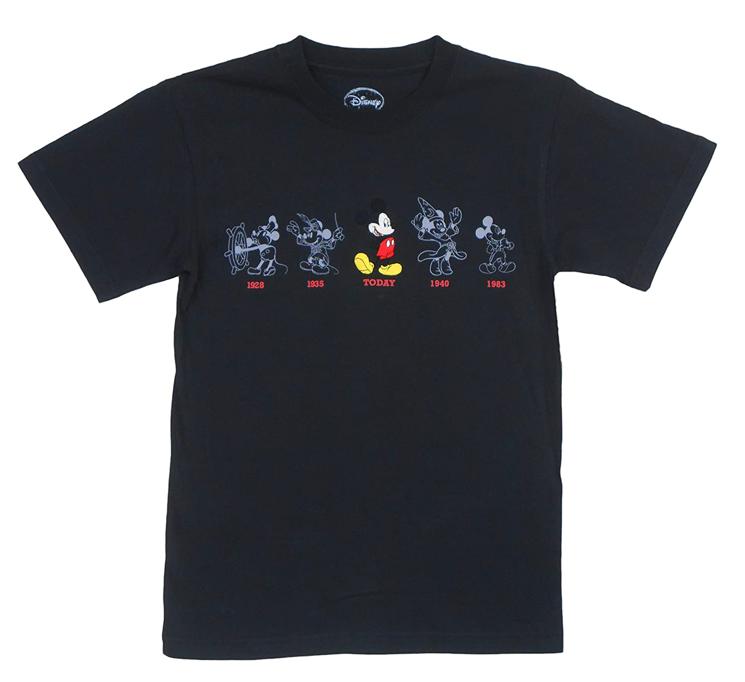 Disney Adult Embroidered Mickey Mouse Evolution Tee Black Xtra-Large