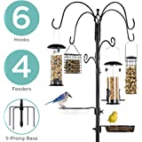 Best Choice Products 6-Hook Bird Feeding Station, Steel Multi-Feeder Kit Stand for Attracting Wild Birds w/ 4 Bird…