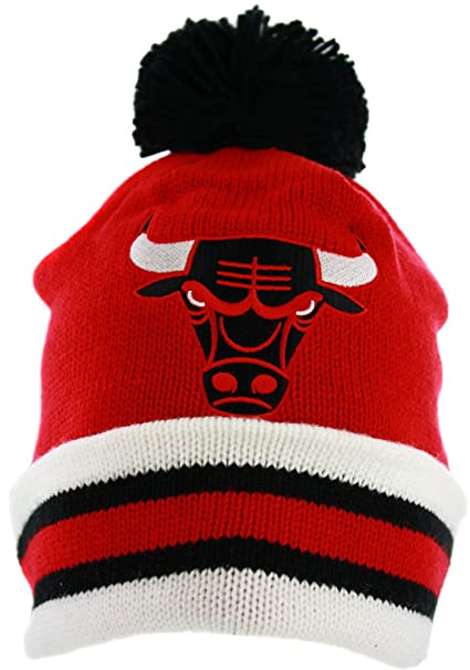 a15fb9b5ecd Image Unavailable. Image not available for. Color  Mitchell   Ness Chicago  Bulls Striped Cuffed Pom Beanie Knit