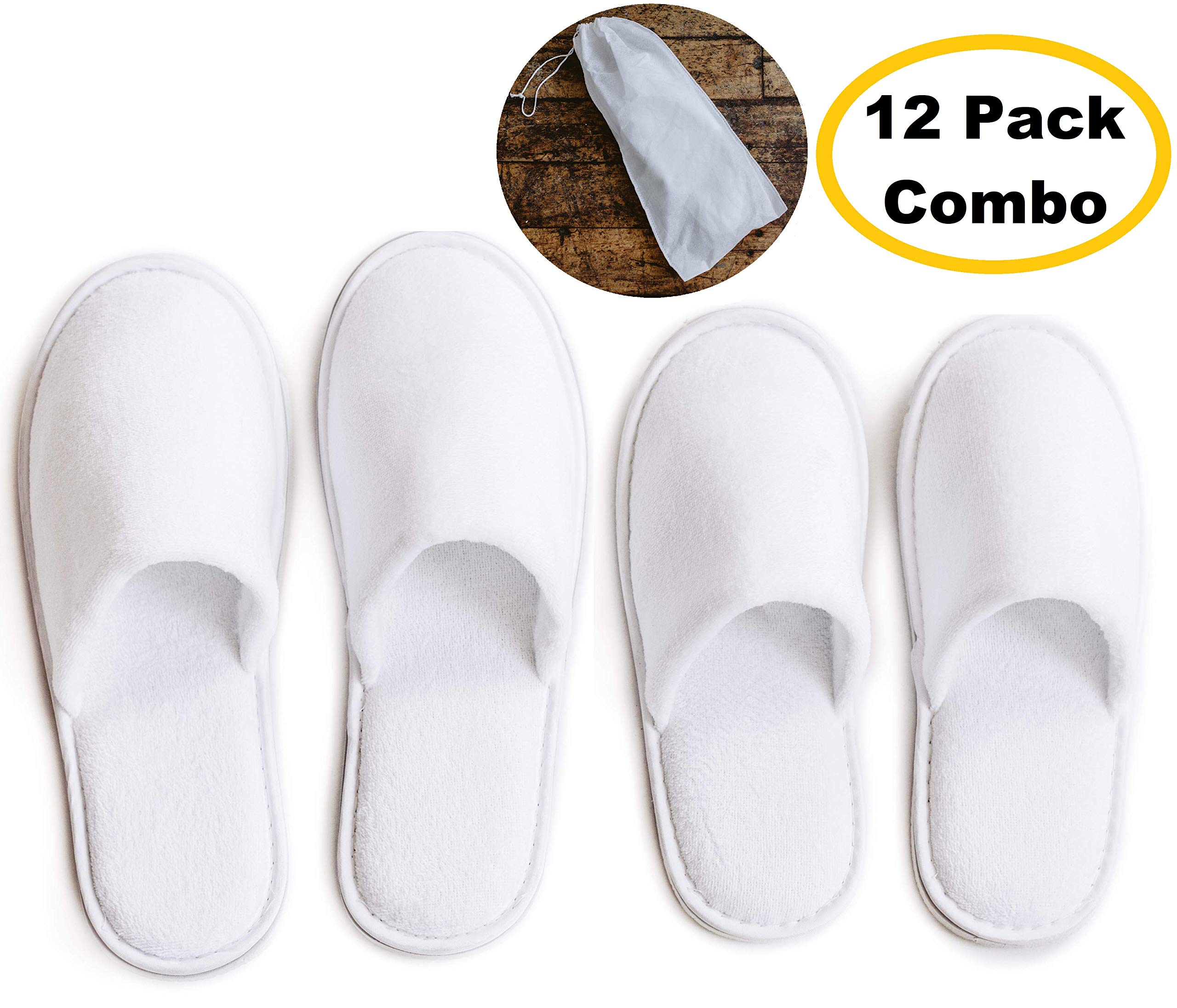 ModLux Spa Slippers - 12 Pairs of Cotton Velvet Closed Toe Slippers with Travel Bags - Thick, Soft, Non-Slip, Disposable Slippers - Fits Most Men and Women - Perfect for Home, Hotel, or Commercial Use by ModLux