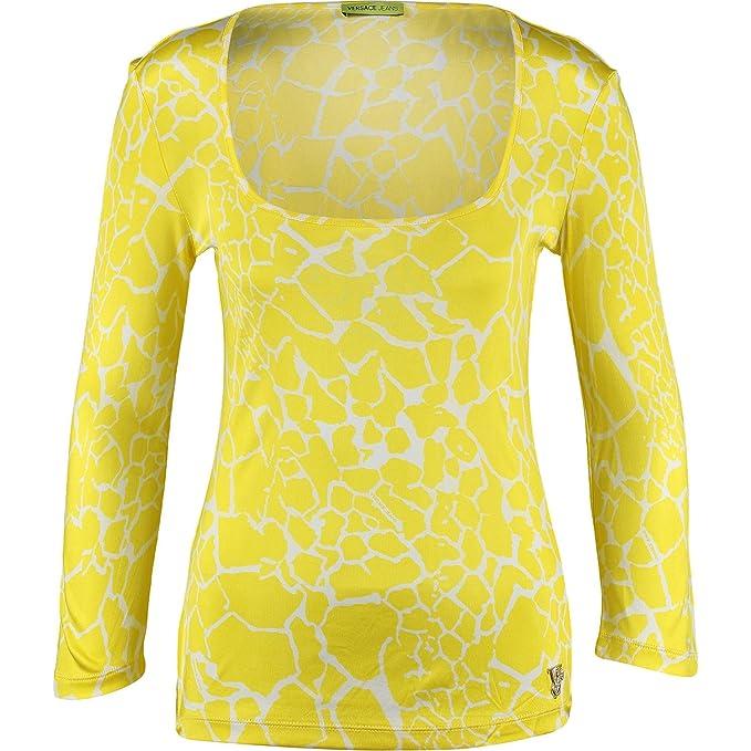 Diseño de tela vaquera para mujer Versace amarillo blusa de piel de jirafa funda interior de