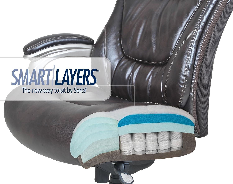 Amazon.com: Serta Big And Tall Smart Layers Premium Ultra Foam Harmony  Executive Office Chair, Brown: Kitchen U0026 Dining
