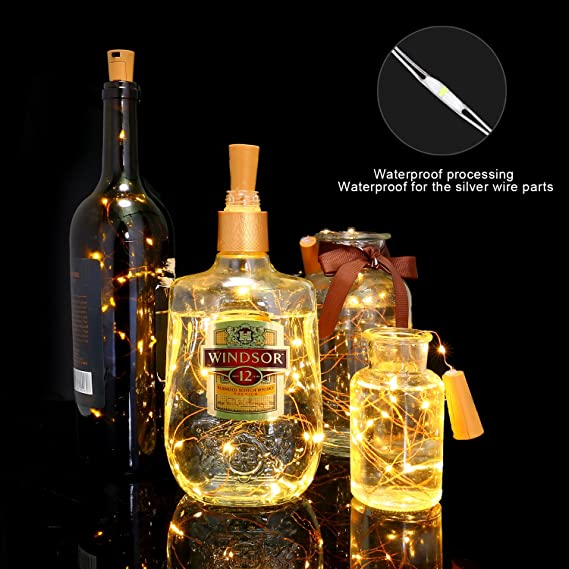 KINGTOP LED Botella Luces Luces de Cadena Botellas de Vino Luces Botella Mini Luces de Cadena Botella de Iluminación Luces 120 Leds Alambre Luz Estrella ...