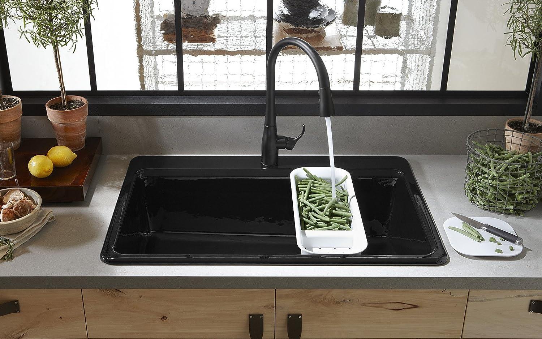 Kohler k 5871 1a2 7 riverby single bowl top mount kitchen sink kohler k 5871 1a2 7 riverby single bowl top mount kitchen sink black black kohler top mount cast iron sink amazon workwithnaturefo
