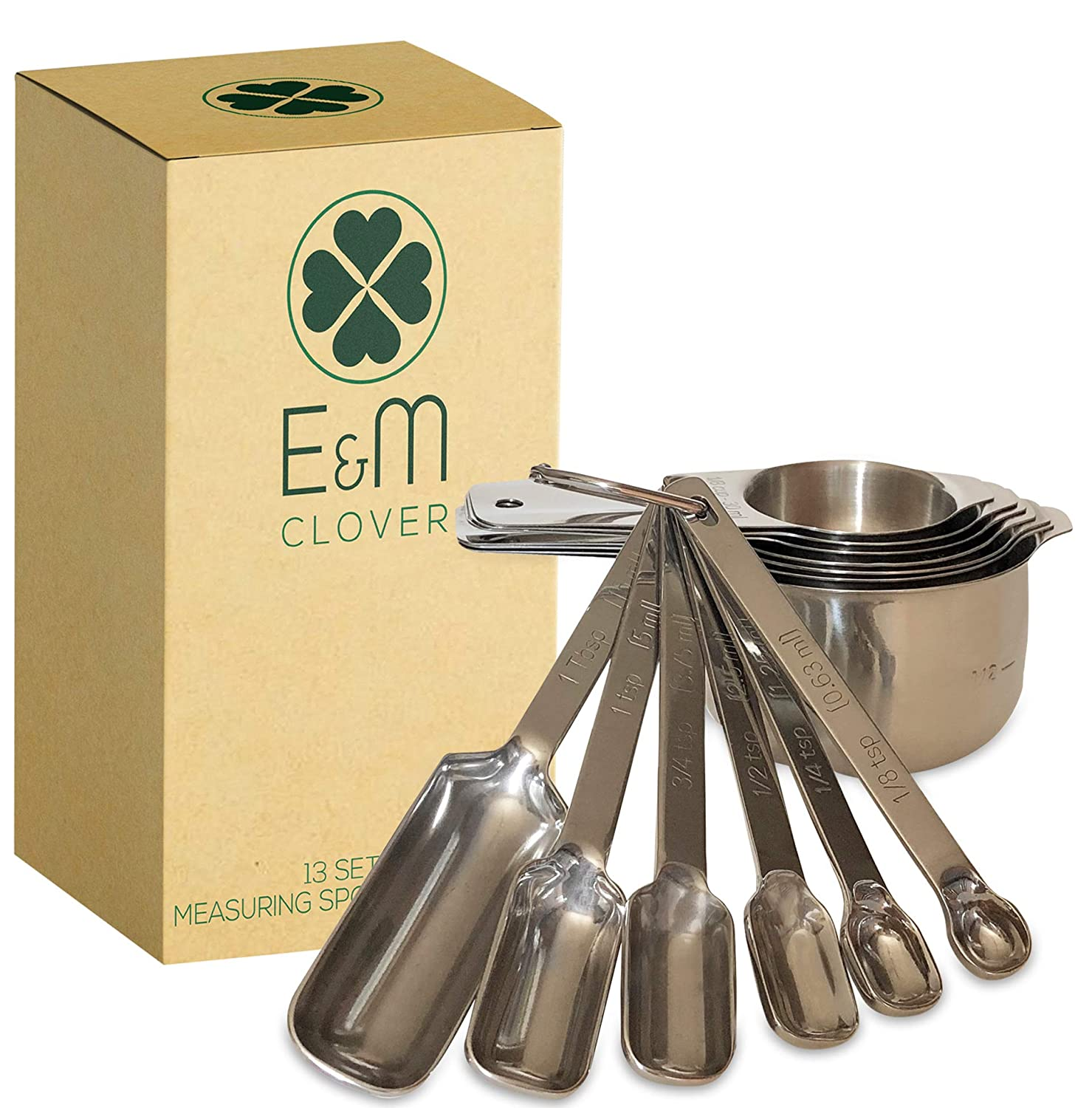 Measuring Cups and Spoons Set by E&M CLOVER Stainless Steel Stackable Dishwasher Safe w/Engraved Markings - Easy Read for Cooking/Baking, Metric Measurement, Heavy Duty, Dry/Liquid