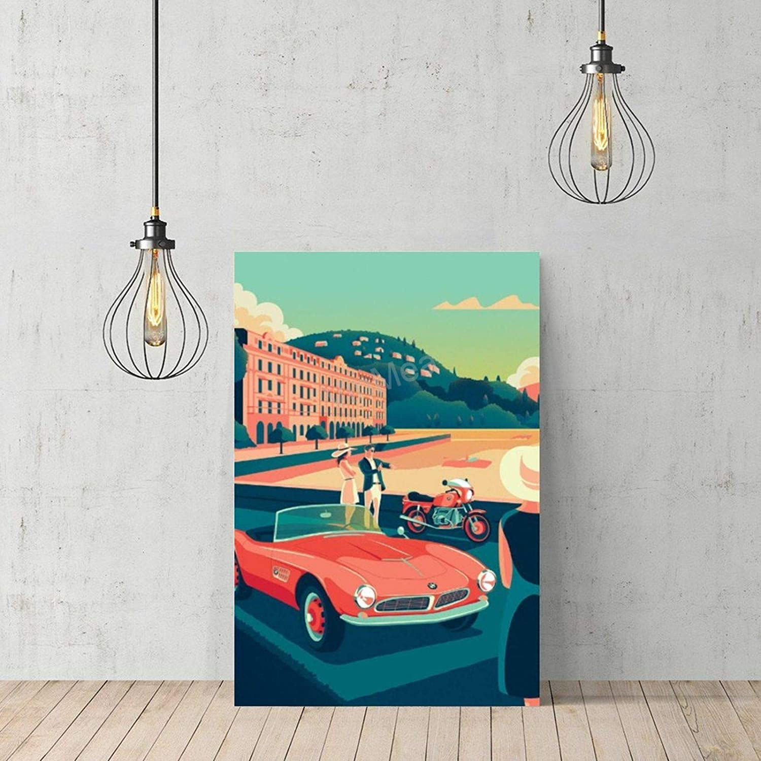 VinMea Frameless Canvas Art Prints Poster, Wooden Old-BMW Wall Decoration for Home Office 12x16 Inch