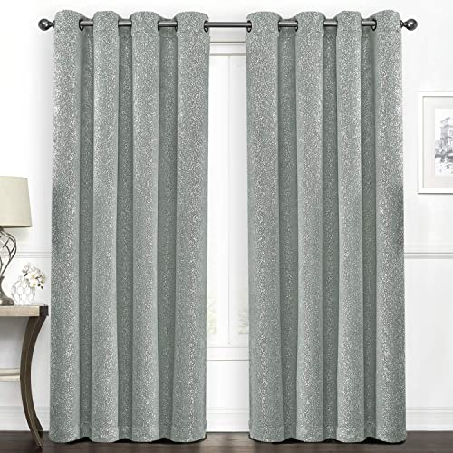 SUO AI TEXTILE Blackout Curtains Thermal Insulated Drapes Grommet Panels Blackout Silver Window Curtains Starry Dot for Living Room,Bedroom,Livingroom,37 by 84 Inch,2 Panels,Aqua