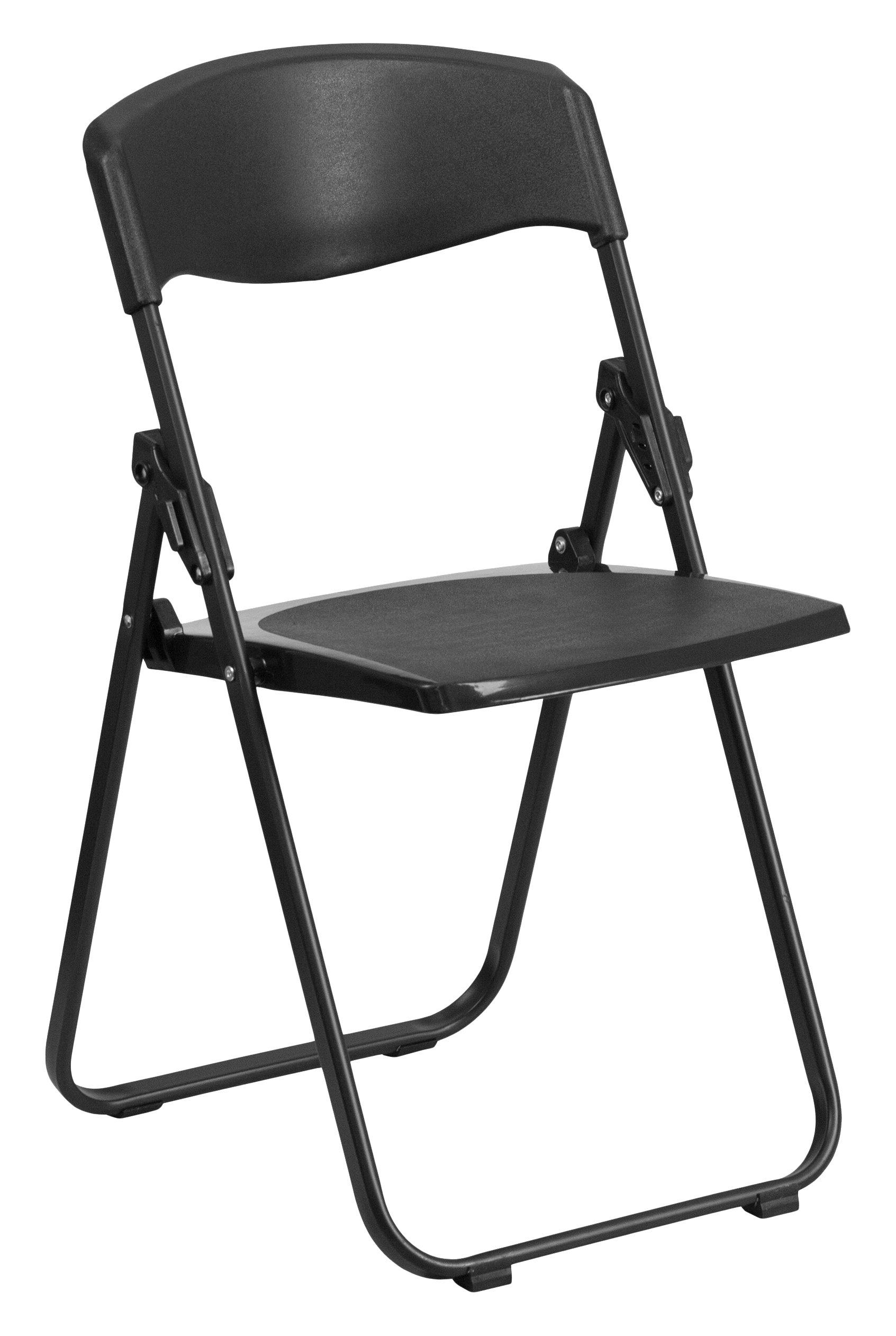 Flash Furniture 6 Pk. HERCULES Series 880 lb. Capacity Heavy Duty Black Plastic Folding Chair with Built-in Ganging Brackets