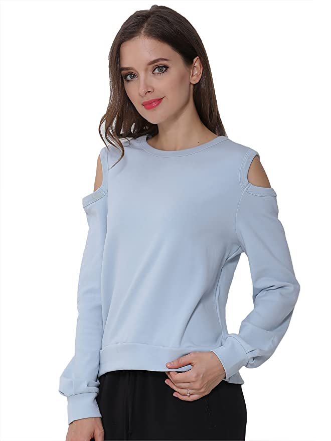 1c183765bf490 FURAMI Women s Sweatshirt Cold Shoulder Tops Casual Loose Long Sleeve  Pullover at Amazon Women s Clothing store
