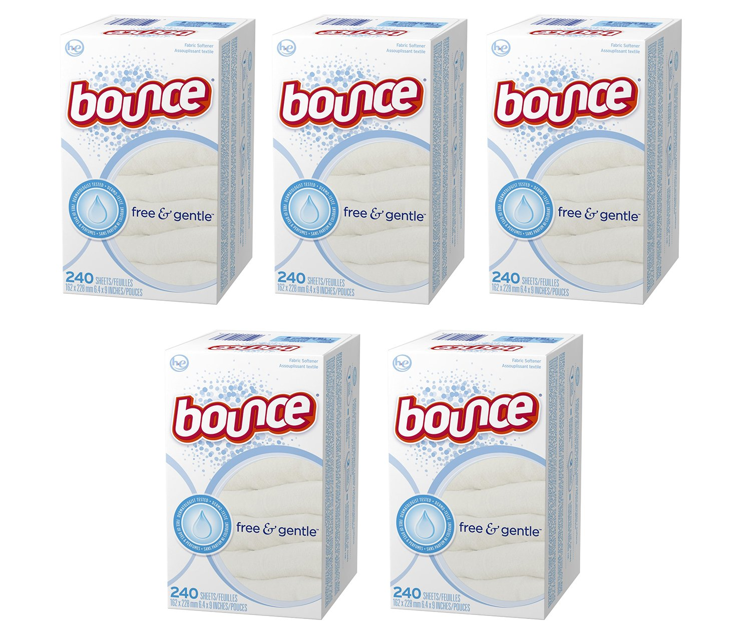 Bounce Fabric Softener hPupo Dryer Sheets Free & Gentle, 240 Count (5 Pack)