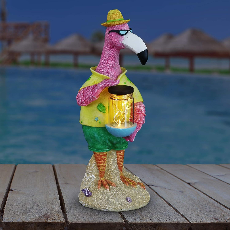 Exhart Beach Lover Pink Flamingo Garden Statue Holding a Solar Glass Jar w/ 6 LED Firefly Lights – Flamingo Resin Statue Holding a Mason Jar w/LED Firefly String Lights – Flamingo Decor, 13 Inches Ta