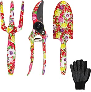 GARTOL Garden Tool Set - 3 Piece Thickly Cast Aluminum Gardening Tools Kit with Floral Print - Trowel, Cultivator, Pruning Shear, Garden Gloves and Exquisite packaging, Gift Set for Gardening (Red)