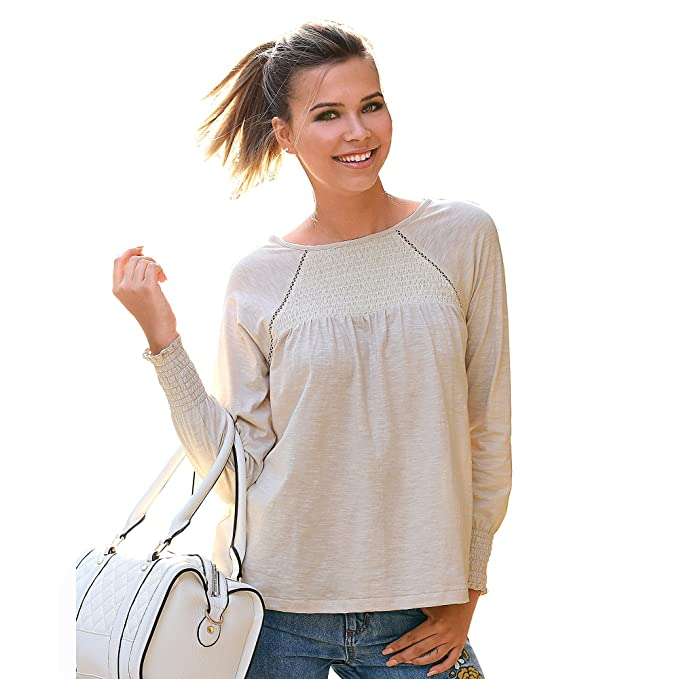 VENCA Camiseta Nido de Abeja en el canesú Delantero Mujer by Vencastyle -  007910  Amazon.es  Ropa y accesorios aa11d350d0d78