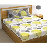 Loreto - A Quality Linen Brand 144 TC 100% Cotton Double Bedsheet with 2 Pillow Covers - White & Lemon Yellow