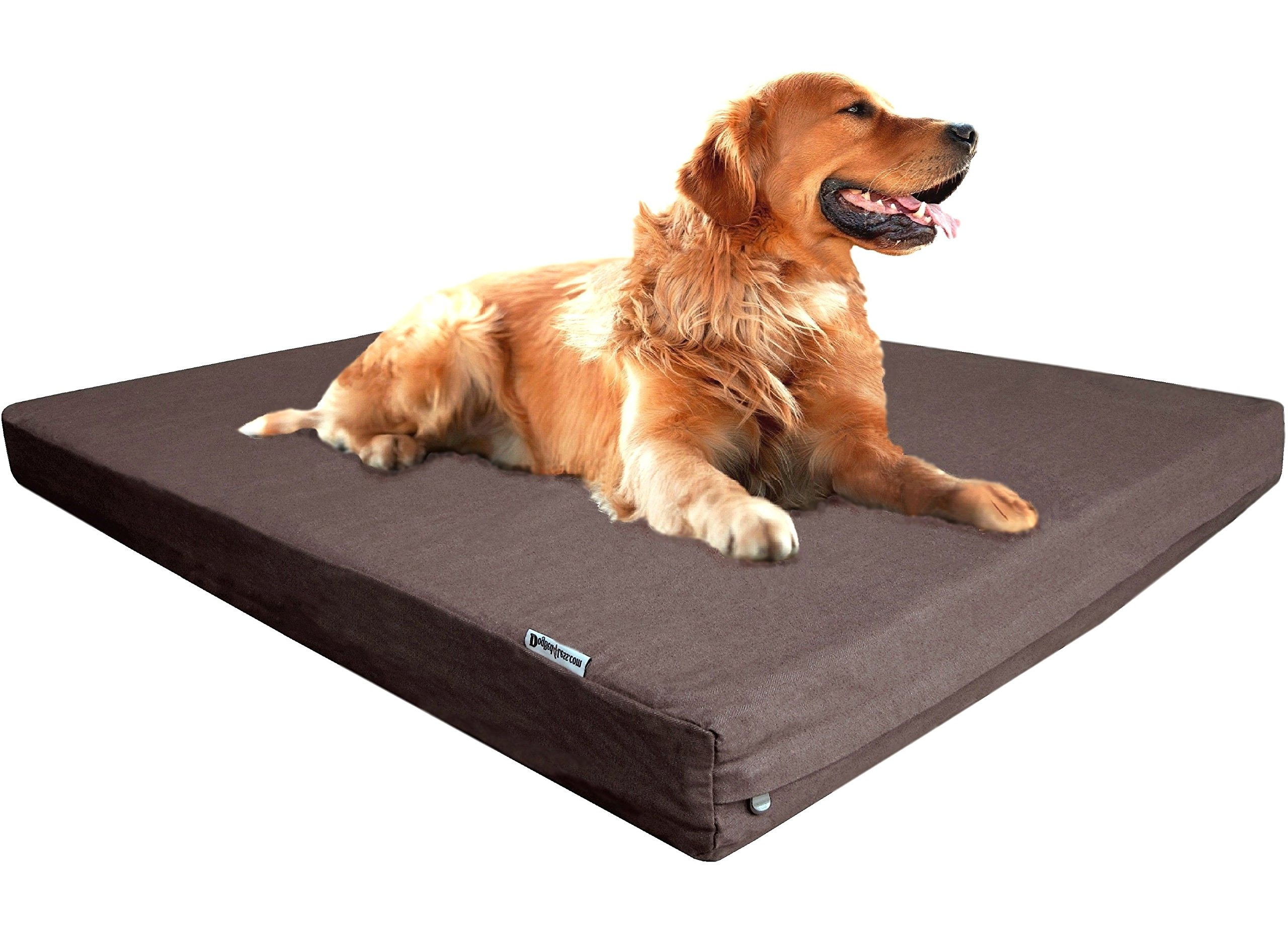 Dogbed4less Extra Large Premium Orthopedic Memory Foam Dog Bed with Durable Brown Denim Cover, Waterproof Liner and Extra Pet Bed Case, Gel Cooling 47X29X4 Pad