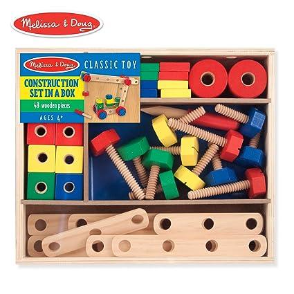 267cb3edc Amazon.com  Melissa   Doug Wooden Construction Building Set in a Box  (Developmental Toy
