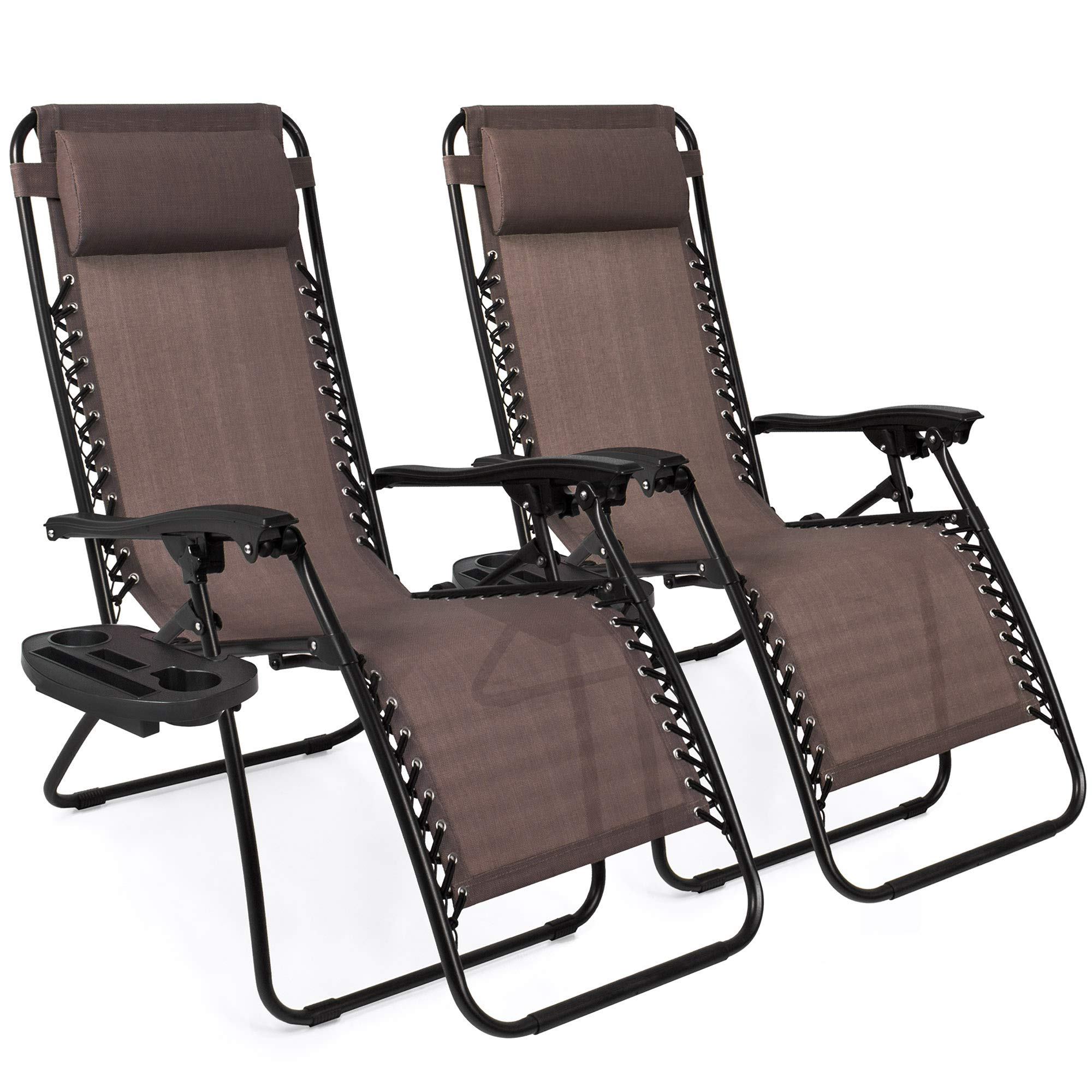Best Choice Products Set of 2 Adjustable Zero Gravity Lounge Chair Recliners for Patio, Pool w/ Cup Holders - Brown by Best Choice Products