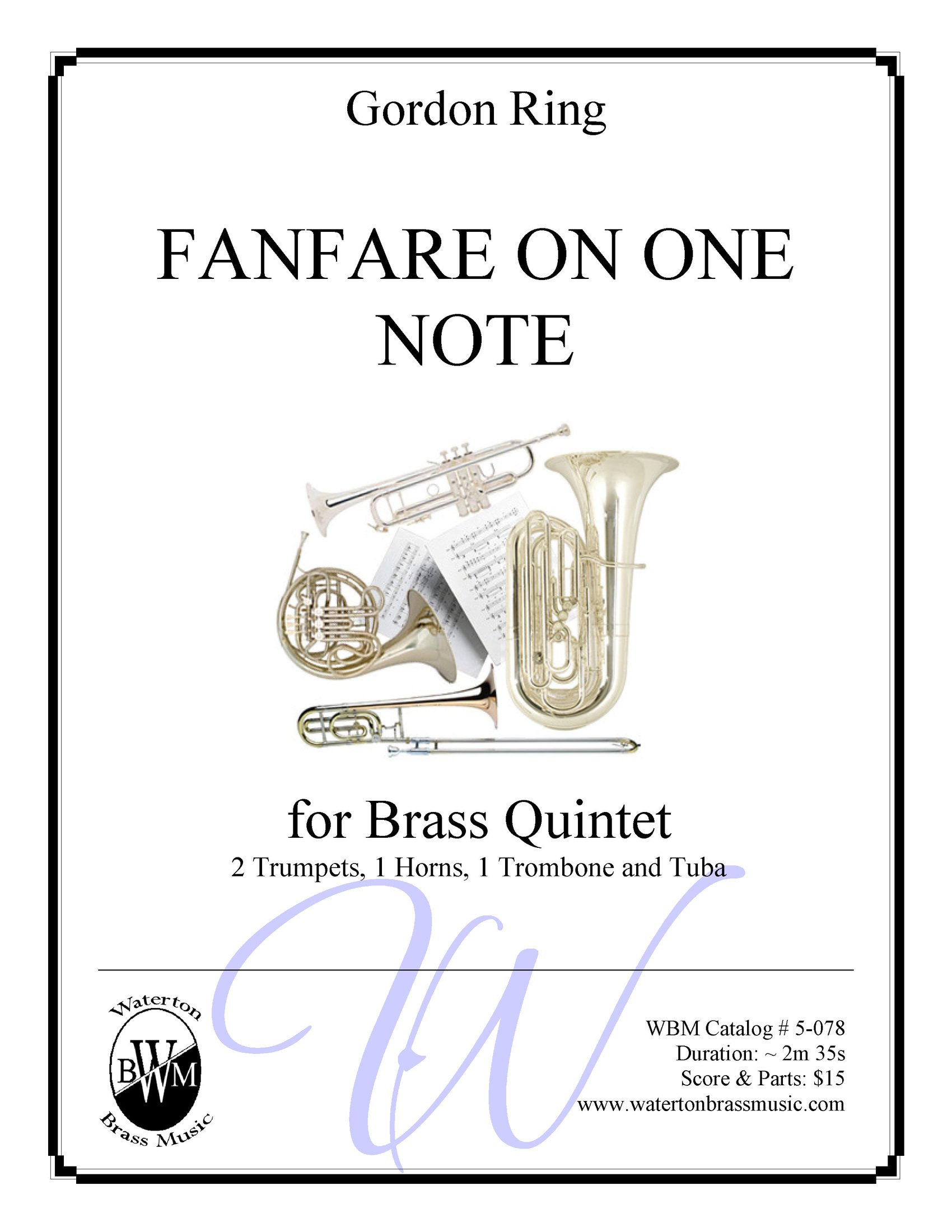 Amazon com: Fanfare On One Note - Brass Quintet Sheet Music: Gordon
