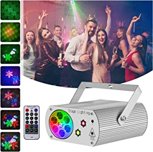 Hemucun Party Lights Sound Activated Disco Light with Remote Control, RGB LED 2 in 1 Laser Projector Strobe DJ Lights for Stage Parties Birthday show Xmas KTV Bar Club Pub