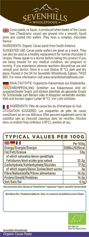 Sevenhills Wholefoods Pasta De Cacao (Licor, Masa) Orgánico, Obleas, 300g: Amazon.es: Salud y cuidado personal