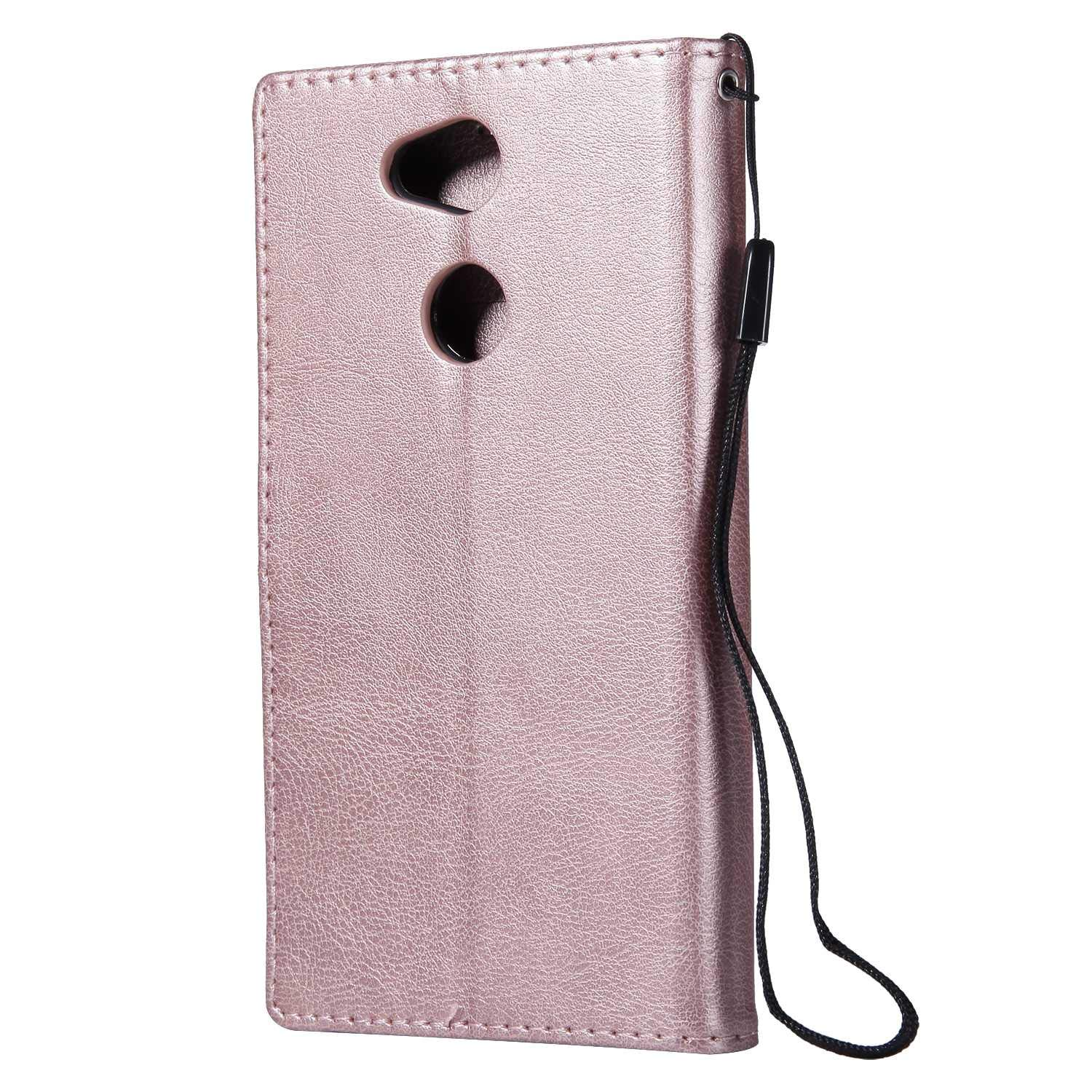 Sony Xperia L2 Wallet Case, CUSKING Premium Leather Cover with Silicone Inner Case for Sony Xperia L2 [Card Holder] [Magnetic Closure] [Hand Strap] - Rose Gold by CUSKING (Image #2)