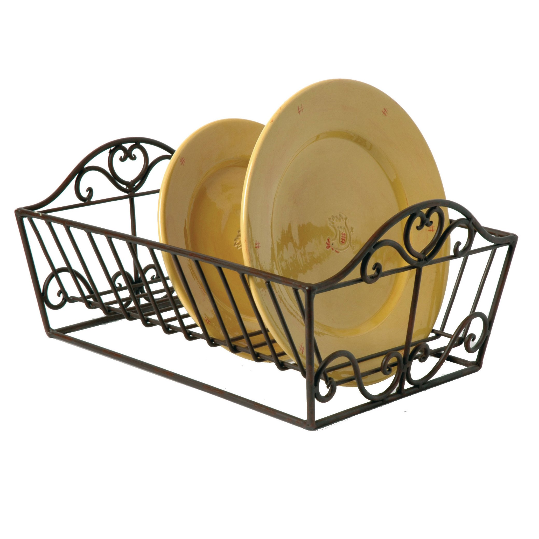 Wrought Iron Heart Plate Dish Drainer Rack 37 x 29 x 19cm by Dibor - French Style Accessories for the Home