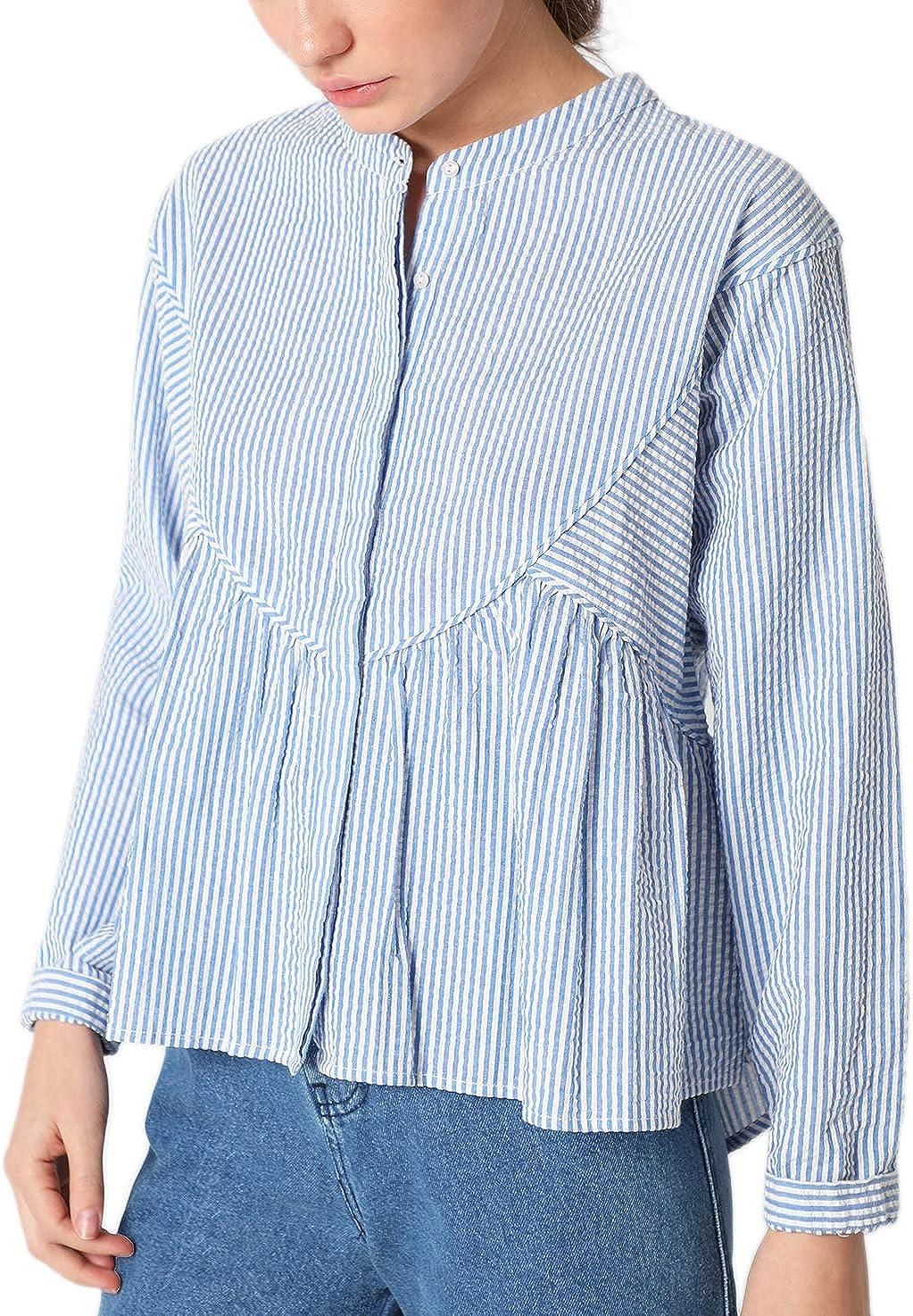 Scalpers Camisa MIL Rayas - Camisa para Mujer, Talla M, Color Indigo: Amazon.es: Ropa y accesorios