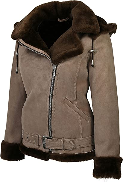 Hollert Damen Lammfelljacke JESSY Camel Felljacke Winterjacke Bikerjacke Lederjacke kurze Jacke mit Kapuze 100% echt Merino Lammfell S 2XL