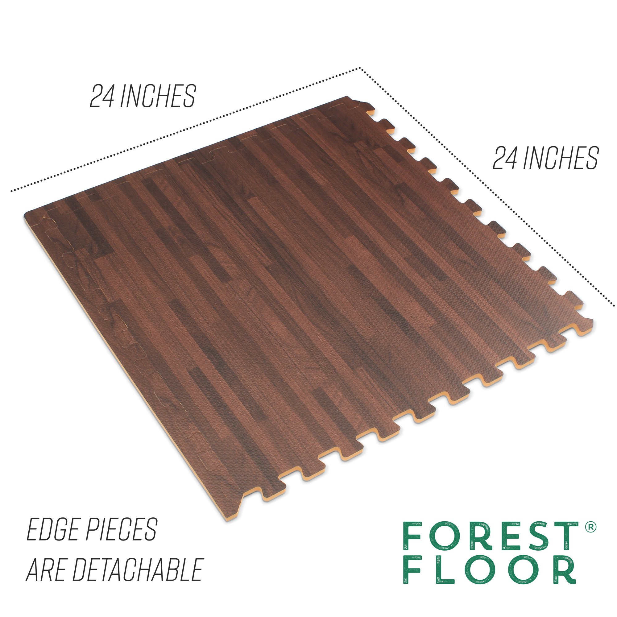 Forest Floor 3/8'' Thick Printed Wood Grain Interlocking Foam Floor Mats, 16 Sq Ft (4 Tiles), Cherry by Forest Floor (Image #4)