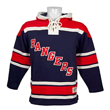 2702bb184 Old Time Hockey New York Rangers Lace Up Jersey Hoodie NHL Sweatshirt L
