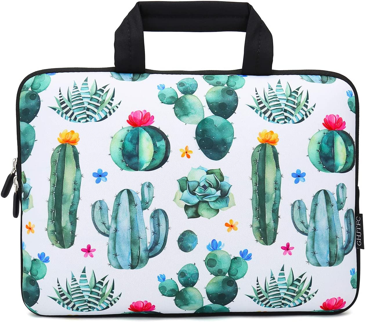 12 Inch Laptop Sleeve Carrying Bag Protective Case Neoprene Sleeve Tote Tablet Cover Notebook Briefcase Bag with Handle for Women Men(Cactus,12