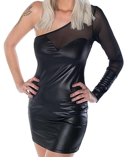 vestito HO-Ersoka Wetlook vestito minidress partito randello in modo asimmetrico in tessuto traspare...